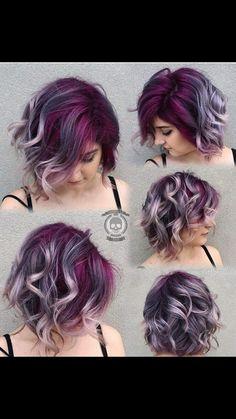 Quem Disse Que Cabelos Coloridos É Só Com Cabelos Longos?.... Simplismente Lindooo #hairstyls