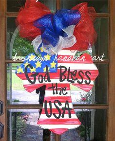 God Bless the USA  Door Hanger  Bronwyn by BronwynHanahanArt, $50.00