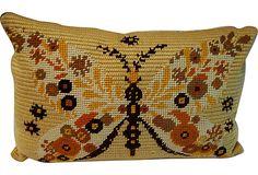 Mod Moth Needlepoint Pillow on OneKingsLane.com