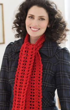 "Heartwarming Crochet Scarf - Need a scarf that you can make in a hurry and give as a gift? This is the perfect choice! You might also make this for a charity scarf. Scarf measures 4"" wide x 55"" long. RHSS: 1 Sk Cherry Red. Crochet Hook: H/8/5mm,   free pdf"