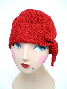 Red Hot Hand Knit Flapper Style Cloche via Etsy.