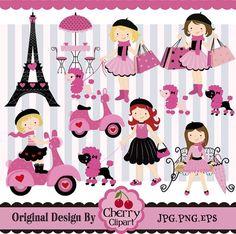 Elemento de París Digital conjunto gráfico por Cherryclipart: