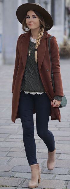 Great winter outfit and layers // long coat, hat, tan boots, cable knit sweater, jeans