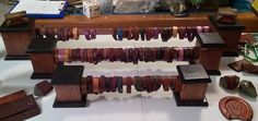 Leather bracelet display by Beau Cottrell./ Beauvine Leather.