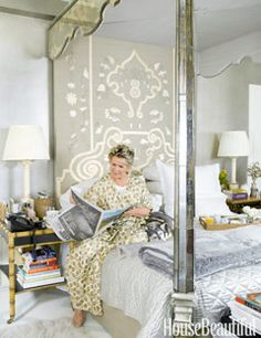 Inside Bunny Williams's Silvery, Shimmery Bedroom.