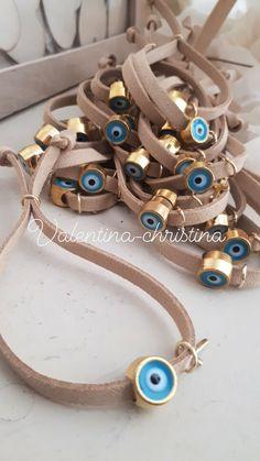 Greek Crafts, Baptism Favors, Baby Shower Themes, Handmade Crafts, Event Design, Christening, Swan, Bracelets, Leather