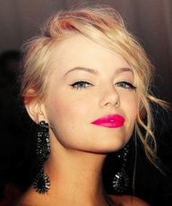 I love the hot pink lip stick and low key eye makeup. Possible bridesmaid makeup.