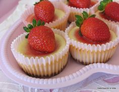 saboreando a vida: Mini Cheesecakes com Morangos