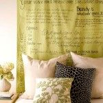 DIY headboard design using fabric and quotes