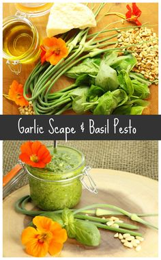A deliciously simple to follow basil pesto recipe that uses fresh garlic scapes from the garden. Perfect for use in pasta and other dishes. via @earthfoodfire Scape Pesto Recipe, Garlic Scape Pesto, Basil Pesto Recipes, Sauce Recipes, Whole Food Recipes, Dinner Recipes, Healthy Recipes, Dip Recipes, Healthy Dinners