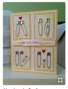 Karte zur Geburt Homemade baby shower cards (with 11 pins). Karte zur Geburt Homemade baby shower cards (with 11 pins). Homemade Cards, Homemade Gifts, Diy Gifts, Craft Gifts, Homemade Birthday Cards, Pin Card, Card Card, Welcome Card, Diy Bebe