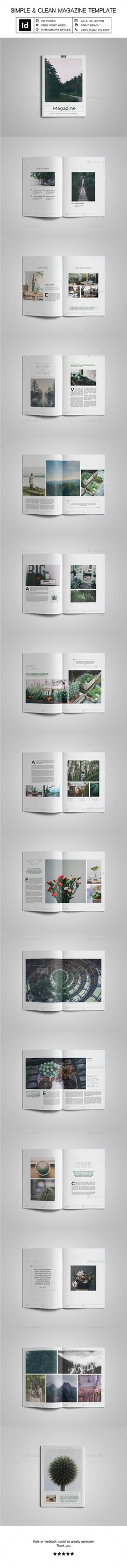 Simple & Clean Magazine Template VI by uloel  Features28 custom pages Free fonts used Print ready with bleed (300 dpi, CMYK) Separated layers (Text, Element, Image, Background