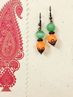 Orange n green jade earrings