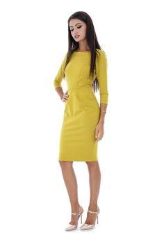 Rochie office mustar DR3093 -  Ama Fashion Dresses For Work, Chic, Color, Fashion, Shabby Chic, Moda, Elegant, Fashion Styles, Colour