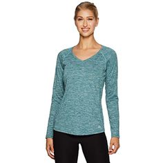 RBX Active Women's Long Sleeve Space Dye V-Neck Running Tee Shirt >>> Read more  at the image link. (This is an affiliate link and I receive a commission for the sales) #Shirts