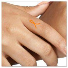 Temporary Tattoo Leukemia - Multiple Sclerosis - ADHD Awareness 4 Orange Ribbon Small Finger…