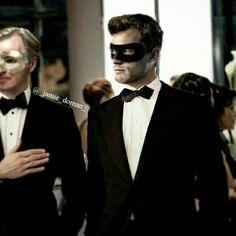 Jamie Dornan as Christian Grey in fifty shades darker-Masked 50 Shades Darker, Shades Of Grey Film, Christian Grey, Jamie Dornan, Dark Mask, Fifty Shades Series, Ana Steele, Mr Grey, Cinema