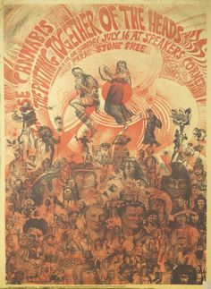 Martin Sharp: poster for legal pot - 'legalise cannabis - the putting together of the heads', Hyde Park, London, 16 July 1967 Martin Sharp, Rock Posters, Music Posters, Art Posters, Hippie Posters, San Francisco, Art Pop, Australian Artists, Psychedelic Art