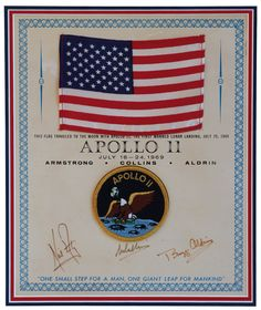 Rare Apollo 11 US flag flown to the Moon sells at auction As the anniversary of the historic Apollo 11 mission gets closer, a U. Apollo Moon Missions, Apollo 11 Moon Landing, Apollo 11 Mission, Apollo Guidance Computer, Apollo Space Program, Cs Lewis Quotes, Space Projects, One Small Step, Nasa Astronauts