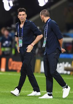 Gianluigi Buffon of Italy and Leonardo Bonucci of Italy walk around the pitch ahead of the UEFA EURO 2016 Group E match between Italy and Republic of Ireland at Stade Pierre-Mauroy on June 22, 2016 in Lille, France.