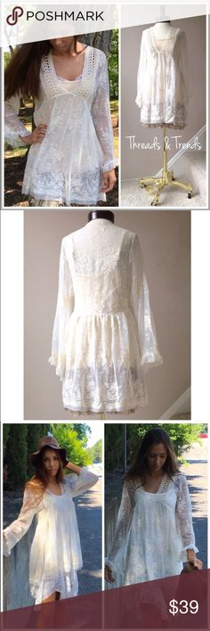 Vintage Embroidered Shirt Dress VINTAGE INSPIRED EMBROIDERED LACE BELL SLEEVE DRESS  PRODUCT DESCRIPTION   • all over vintage inspired lace crochet • long bell sleeves with ruffle hem • plunging crochet neckline • breathable material  • relaxed, easy fit  Material Content:   Primary Color: White Dresses
