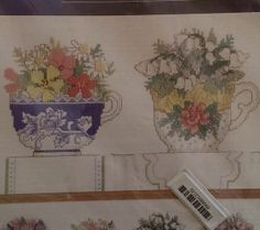 Row of Teacups Counted Cross Stitch Kit Floral Spring Flowers Arrangement 7.5x22