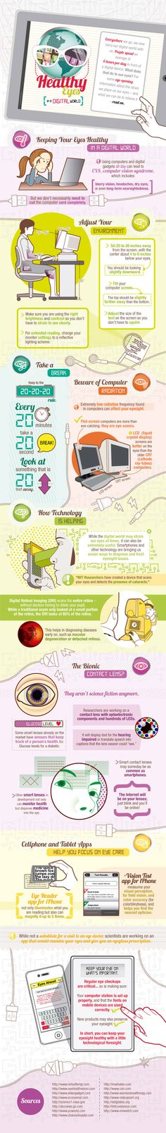 Infographic: A Guide To Having Healthy Eyes In A Digital World - Constant use of computers and other electronic devices could cause 'Computer Vision Syndrome': blurry vision, headaches, dry eyes and possible long-term near-sightedness. Many interesting fa Computer Vision, Health And Nutrition, Health And Wellness, Health Tips, Health Benefits, Sistema Visual, Eye Facts, Healthy Eyes, Bulletins