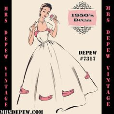 Vintage Sewing Pattern 1950's Evening or Wedding Gown in Any Size Depew #7317
