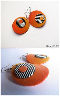 Beautiful polymer clay earrings by SandrArt. #polymer #clay #art #jewelry