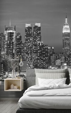 There are several clever and creative ways to style a petite room using wallpaper murals. Here are some tips and tricks on how. New York Bedroom, City Bedroom, Bedroom Murals, Bedroom Themes, Bedroom Wall, Bedroom Decor, New York Wallpaper, Wallpaper Murals, Home Wallpaper