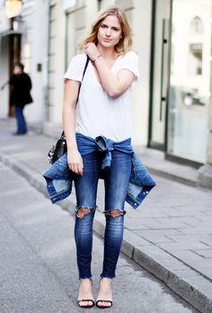look calça jeans t-shirt jaqueta cintura