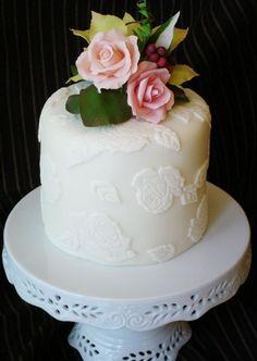 Peony Wedding Cake One Layer   Single Layer Bridal Shower Cake