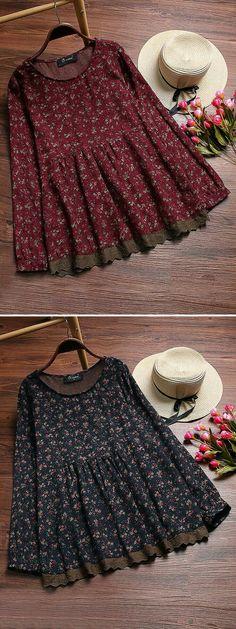 Vintage Floral Printed Stitching Lace Shirts for Women Frock Fashion, Hijab Fashion, Boho Fashion, Fashion Dresses, Stylish Dresses, Cute Dresses, Casual Dresses, Girls Dresses, Kurta Designs Women