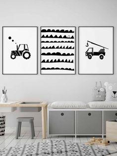 Black and white truck nursery wall art, construction print, transportation art