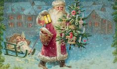 Somewhere in snowy America, up the hill from Bethlehem ... detail from a 1908 postcard showing Santa Claus holding a Christmas tree. Photogr...