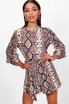 e7109f8b2085 boohoo Keira Snake Print Kimono Sleeve Playsuit Boohoo Outfits