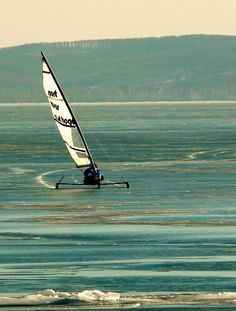 Ice sailing on Lake Balaton