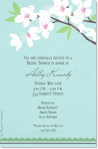 Invite your friends and family to an elegant event with this serene invitation featuring a wild cherry blossom upon a creamy blue background.  Includes white unlined envelopes.