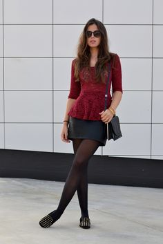 Wine peplum lace top, black mini skirt, studded loafers