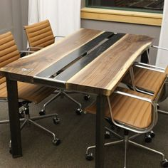 Hand Made Live Edge Walnut Conference Table by K Modern Design | CustomMade.com