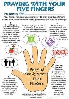 Praying with Your Five Fingers Color Your Own Poster | Youth group ...