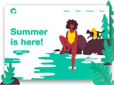 Summer is here! Website Design Layout, Web Layout, Powerpoint Design Templates, Daily Ui, Ui Design Inspiration, Identity, Landing Page Design, Summer Design, Summer Is Here