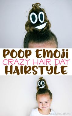 Poop Emoji Crazy Hair Day Hairstyle on www.girllovesglam The post Poop Emoji Hairstyle for Crazy Hair Day appeared first on Hair Styles. Crazy Hair Day Girls, Crazy Hair For Kids, Crazy Hair Day At School, Days For Girls, Crazy Hair Days, Crazy Hair Day For Teachers, Lauren Alaina, Crazy Hats, Crazy Socks