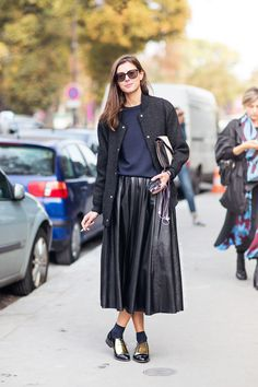 Love this look of full skirt worn with gold loafers & socks......pinned from thesimplyluxuriouslife.com