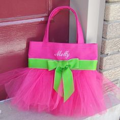 Embroidered Dance Bag - Hot Pink Bag with Hot Pink Tulle and Green Ribbon Tutu Tote Bag - TB94 - BP
