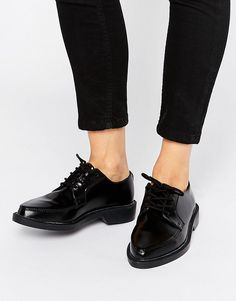 Image 1 of T.U.K. Jam Point Lace Up Leather Flat Shoes