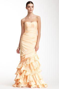 Strapless Cascade Pleat Dress