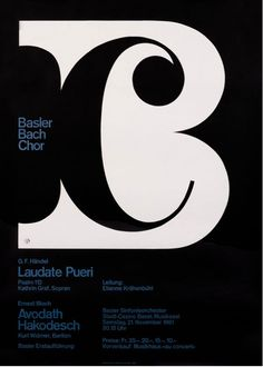 This poster from Vintage Posters at International Poster Gallery is simply fantastic! Basler Bach Chor / by Armin Hofmann Lettering, Design Typography, Typography Inspiration, Typography Letters, Graphic Design Inspiration, Branding Design, Logo Design, Type Design, Flyer Design
