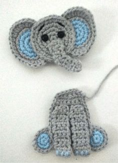 Free Crochet Pattern: Elephant Appliqué - Natalina Craft - - You will find here an easy and free pattern to make this cute elephant appliqué. It is the perfect addition to a baby blanket for instance! Crochet Elephant Pattern, Crochet Applique Patterns Free, Elephant Applique, Crochet Stitches, Crochet Hooks, Free Crochet, Crochet Baby, Free Pattern, Crochet Appliques