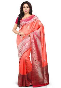 Dark Peach and Red Pure Katan Banarasi Handloom Silk Saree with Blouse: